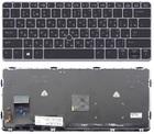 Клавиатура для ноутбука HP EliteBook 720 G1 G2 725 G2 820 G, серебристая, с рамкой, с подсветкой, 762585-251